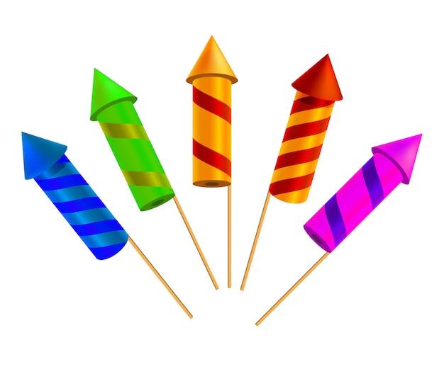 Set van heldere feestelijke crackers. vector illustratie