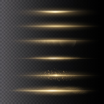 Set van heldere flits, gloeiende stralende zon, geel licht explodeert