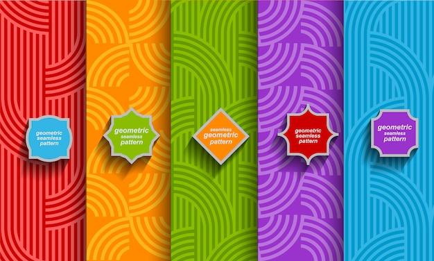 Set van heldere gestreepte naadloze patronen