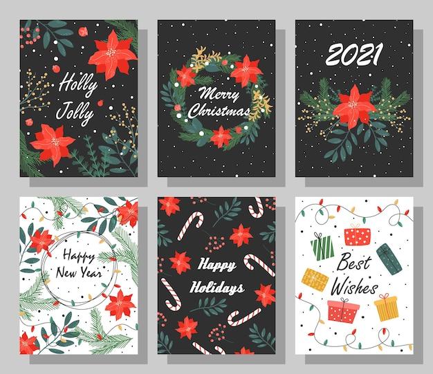 Set van heldere kerstkaarten met gefeliciteerd.