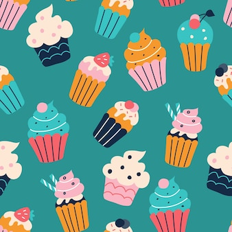 Set van heldere kleurrijke cupcakes in de stijl van platte doodles vector naadloos patroon