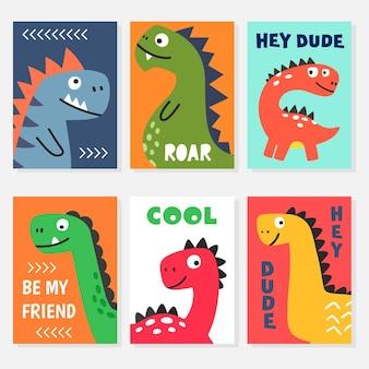 Set van heldere kleurrijke vectorillustraties met grappige vriendelijke lachende dino stripfiguren