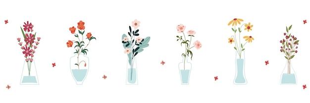 Set van heldere lente bloeiende bloemen in vazen en flessen geïsoleerd op een witte achtergrond. een bos boeketten. reeks decoratieve bloemenontwerpelementen. cartoon platte vectorillustratie.