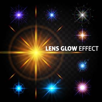 Set van heldere lichteffecten. het effect van de lens, de zon gloeien.