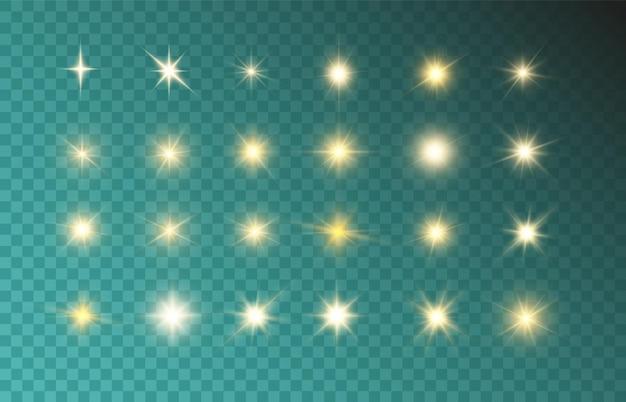 Set van heldere mooie sterren fonkelende mooie lichten.
