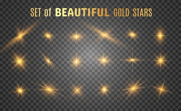 Set van heldere mooie sterren. lichteffect. heldere ster.