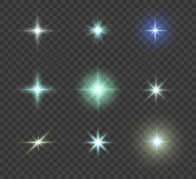 Set van heldere ster. geel gloeiend licht ontploft op een transparante achtergrond. transparante stralende zon, heldere flits. om een heldere flits te centreren. sprankelende magische stofdeeltjes. schittert.