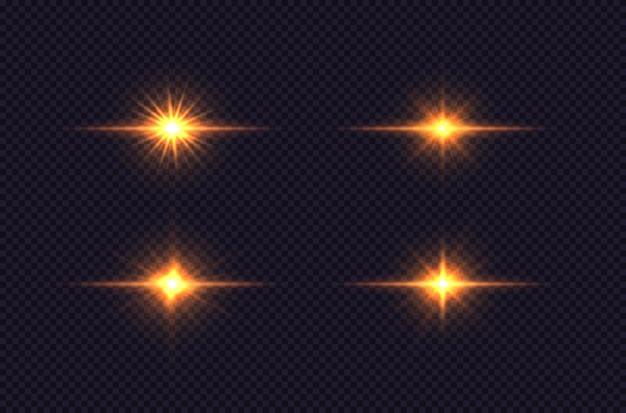 Set van heldere ster gloeiende licht ontploft ontwerp