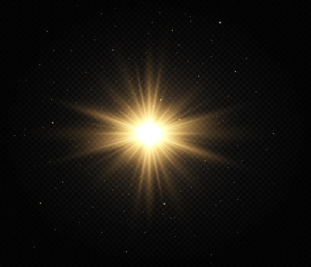 Set van heldere ster gouden gloeiende licht explodeert op een transparante achtergrond