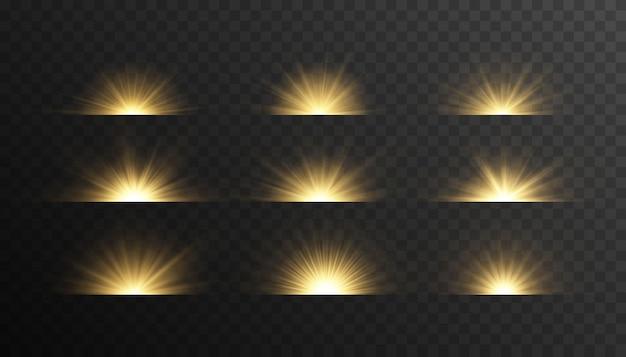 Set van heldere stralen van licht.
