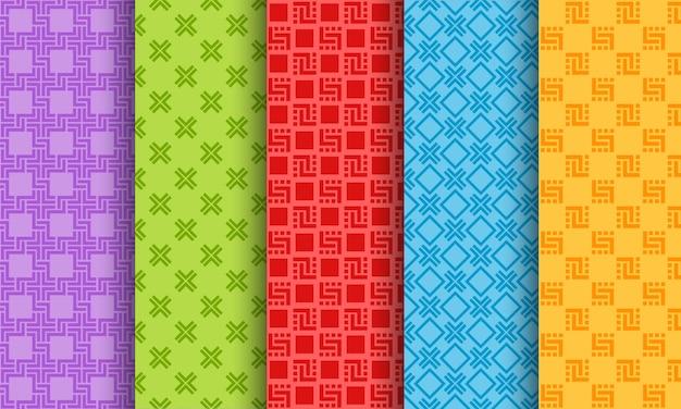 Set van heldere verschillende naadloze patronen