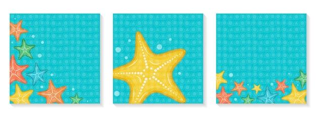 Set van heldere vierkante banners hallo zomer veelkleurige zeesterren op een blauwe achtergrond