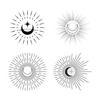 Set van hemelse maan met sunburst logo minimal tattoo flat vector design
