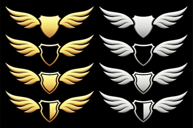 Set van heraldisch schild met vleugels op zwart
