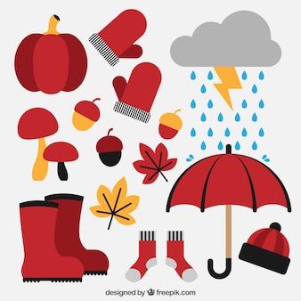 Set van herfst apparatuur en natuurlijke elementen