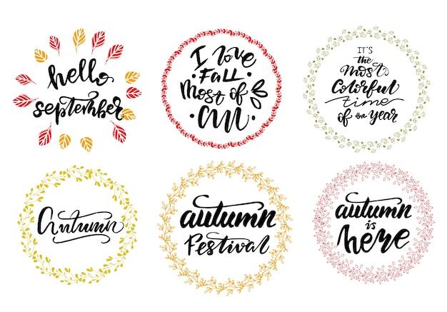 Set van herfst belettering zinnen. vector illustratie.