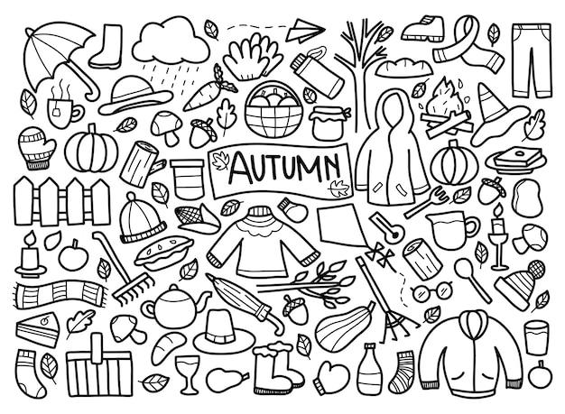 Set van herfst doodle