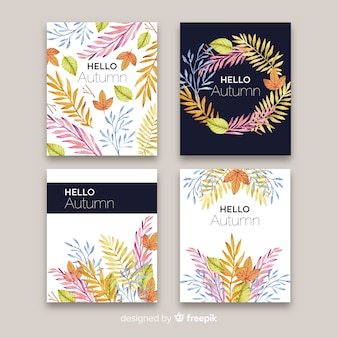 Set van herfst kaarten aquarel stijl