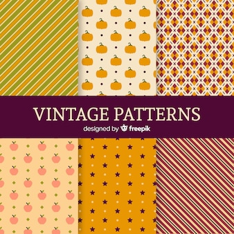 Set van herfst patronen vintage stijl