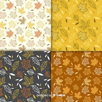 Set van herfst patronen vlakke stijl