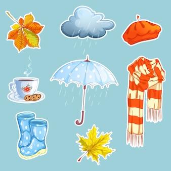 Set van herfst stickers.