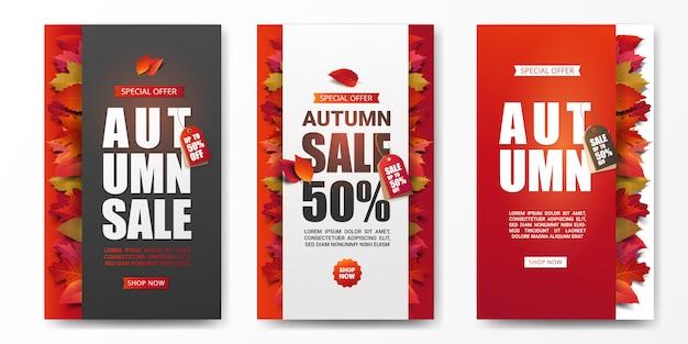 Set van herfst verkoop banner lay-out versieren met droge bladeren.