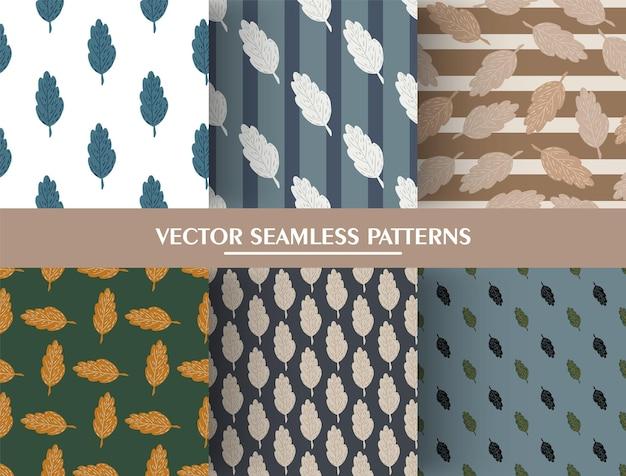 Set van herfstblad doodle naadloze patroon