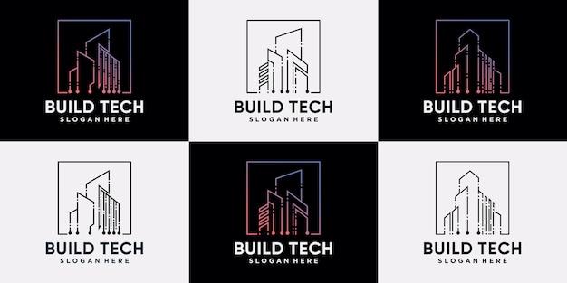 Set van het bouwen van logo-ontwerptechnologieconstructie met lineaire stijl en creatief concept premium vector