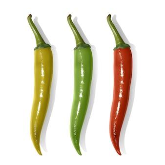 Set van hete chili pepers geïsoleerd. chilipepers van rode, gele en groene kleuren.