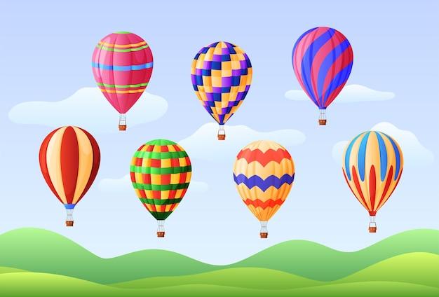 Set van hete lucht ballonnen, verschillende kleuren. luchtvaart. vector illustratie