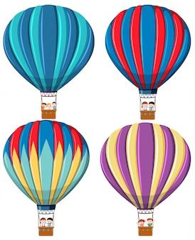Set van hete luchtballon