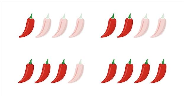 Set van hete rode pepersterkte-schaal. indicator met milde, gemiddelde en hete pictogramposities die op witte achtergrond worden geïsoleerd.