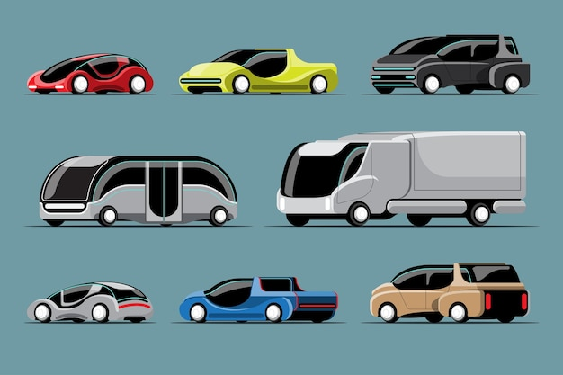 Set van hi-tech auto's in moderne stijl op wit