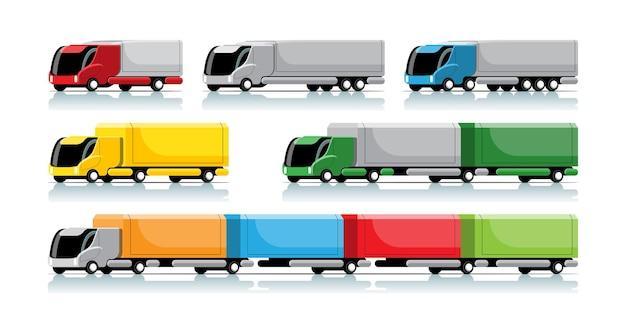 Set van hi-tech vrachtwagen en aanhangwagen in moderne stijl op wit