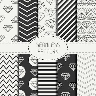 Set van hipster geometrische naadloze patroon met diamant.