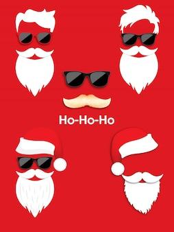 Set van hipster kerstman