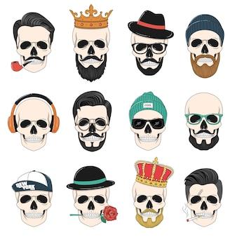 Set van hipster schedels met haar, kronen, hoeden, koptelefoons, enz