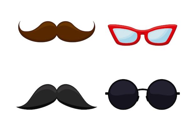 Set van hipster snor met bril