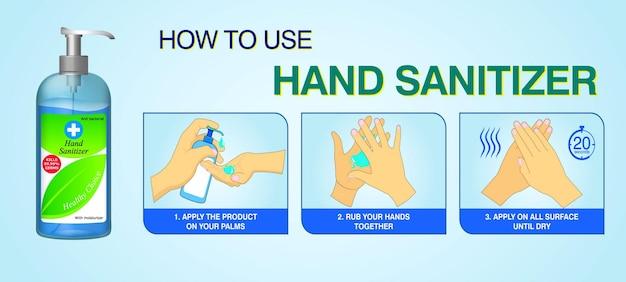 Set van hoe handdesinfecterend middel op de juiste manier te gebruiken of stap voor stap hoe handdesinfecterend middel correct te gebruiken