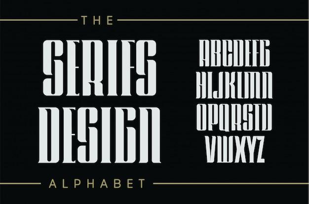 Set van hoge letters met elegante serifs.retro typografisch ontwerp op zwarte achtergrond.