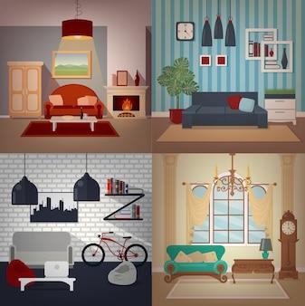 Set van home interiors in verschillende stijlen