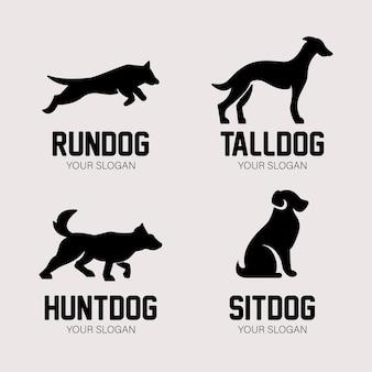 Set van hond silhouet logo ontwerp