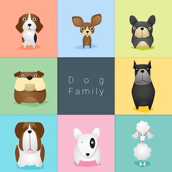 Set van hondenfamilie