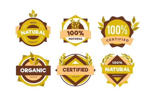 Set van honderd procent natuurlijke badges