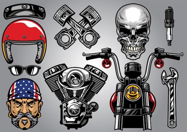 Set van hoog gedetailleerd motorfietselement