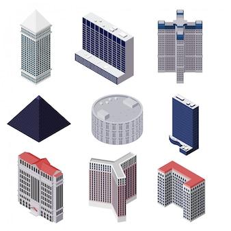 Set van hoogbouw huizen
