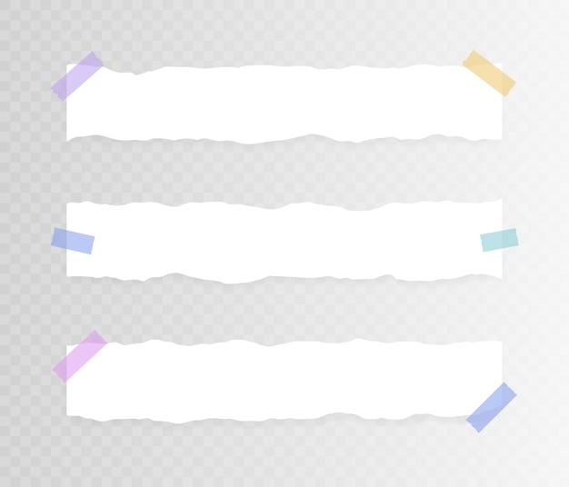 Set van horizontaal gescheurd papier op plakband op transparante achtergrond. illustratie.