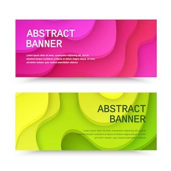 Set van horizontale banners met 3d abstracte rode en felgroene achtergrond met papier gesneden vormen