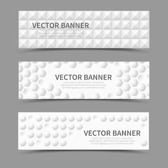 Set van horizontale banners met 3d geometrische vormen. geometrische uitstulping, dekkingstextuur