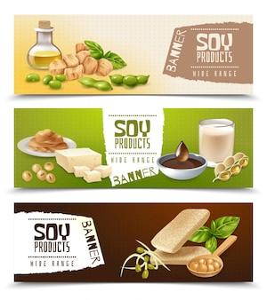 Set van horizontale banners met sojaproducten geïsoleerd op kleur